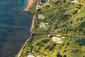 Coastal golf course, aerial photograph