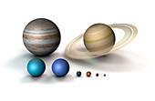 Planetary size comparison, illustration