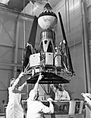 Ranger 4 spacecraft model display preparations, 1964