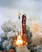 Ranger 5 spacecraft launch, Atlas-Agena rocket, 1962