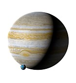 Earth compared to Jupiter