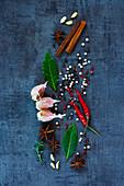 Bright spices on dark vintage background