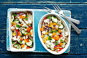 Vegetables baked with feta