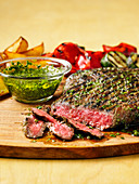 Sous vide Argentinian flank steak with chimichurri sauce