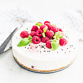 Cheesecake with raspberries and basil