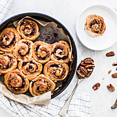 Blueberry and pecan nut buns