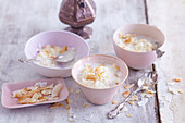 Oriental rice pudding with rose water