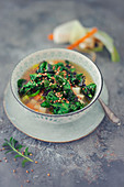 Vegetable soup with roasted kale and roasted buckwheat