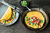Indian mung bean pancakes with vegetables and coriander chutney