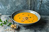 Cream of pumpkin and bean soup