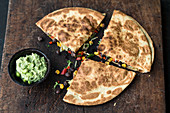 Bean quesadilla's with cheese and guacamole