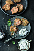 Greek lentil fritters with tzatziki