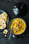 Indian black-eyed bean and coconut curry with chilli and tomatoes