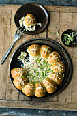 Pretzel monkey bread with ham and Appenzeller cheese