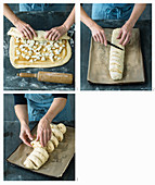 An apple bread plait being made