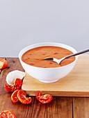 Creamy tomato soup in a bowl