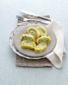 Pasta rolls filled with spinach and ricotta and topped with parmesan cheese (Italy)
