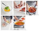 Erbsen-Gnocchetti mit Garnelen und Carbonara-Sauce zubereiten