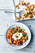 Tuscan bread salad with burrata