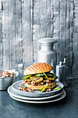 Spelt brioche burger with aubergines and a bean salsa