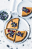 Cream cheese tart with blueberry salad