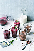 Beetroot drink with ginger, and banana and chocolate milk