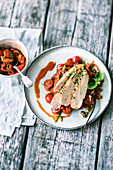 Herb country chicken with vanilla and tomato compote