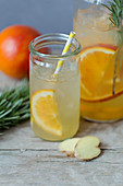 Blood orange and ginger switchel with rosemary