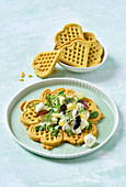 Curry waffles with mango and mozzarella salad
