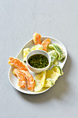 Vegetable tempura with a coriander and ginger dip (Vegan)