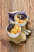 Pumpkin and orange risotto with red cabbage