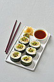 Vegetarian sushi with omelette and soy aubergines
