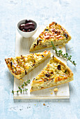 Onion tart with black olives