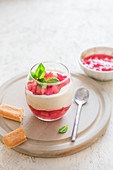 Rhubarb and mascarpone cheese triffle with fresh mint