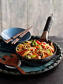 Turkey, vegetables and noodles with ginger