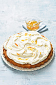 Orange cake topped with creme fraiche