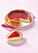 A base-less citrus cheesecake topped with redcurrant jelly