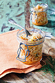 Fermented cabbage salad with carrots and pearl onions