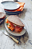 Salmon sandwich with wasabi cream cheese