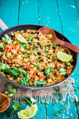 Mexican quinoa salad in a pan