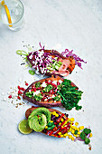 Sticky baked sweet potato three ways Japanese vibes superfood vibes and mexican vibes