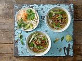 Pho (rice noodle soup with meat, Vietnam)
