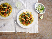 Turkey and vegetable stir fry with noodles (Asia)