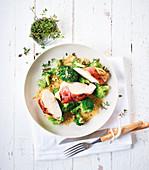 Hühnerbrust mit Kräuter-Mascarponefüllung dazu Brokkoli (Low Carb)