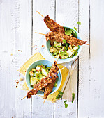 Beef skewers with cucumber salad (low carb)