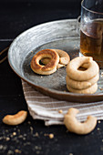 Mini doughnut cookies made from wholemeal floor