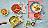 Tomatensuppe, Erbsensuppe und Blumenkohlsuppe