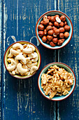 Cashews, waluts and hazelnuts