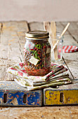 Lentil and beetroot salad in a glass jar