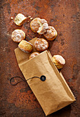 Savory quark rolls in a cloth bag